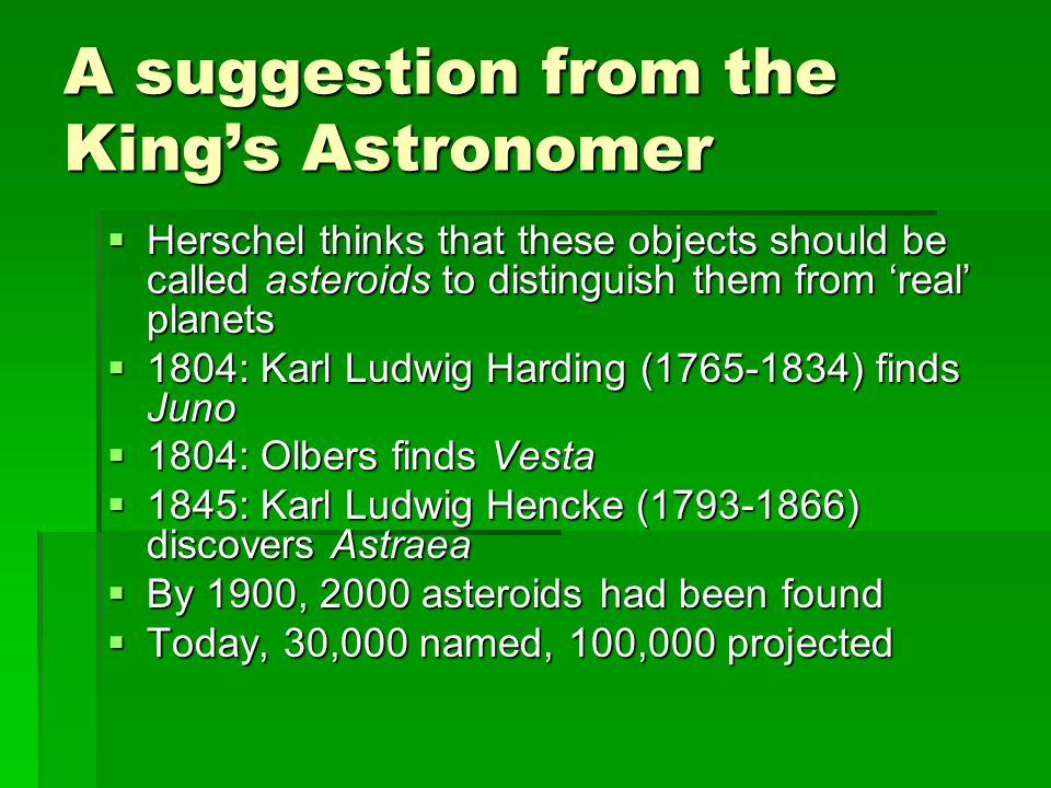 A suggestion from the King's Astronomer  Herschel thinks that these objects should be called asteroids to distinguish them from 'real' planets  1804: Karl Ludwig Harding (1765-1834) finds Juno  1804: Olbers finds Vesta  1845: Karl Ludwig Hencke (1793-1866) discovers Astraea  By 1900, 2000 asteroids had been found  Today, 30,000 named, 100,000 projected
