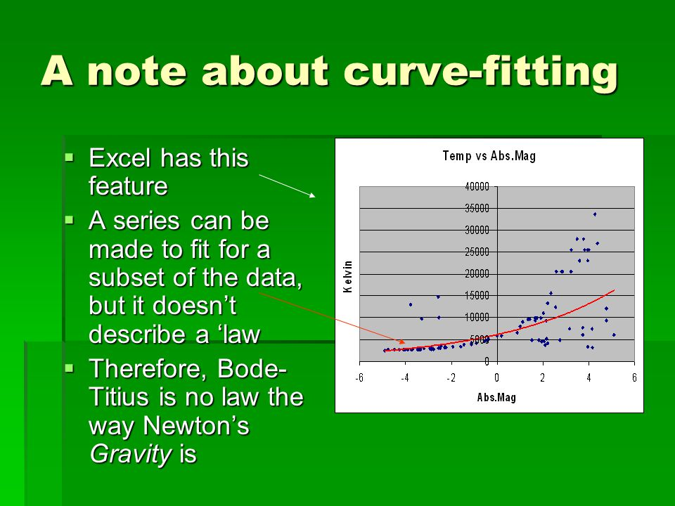 A note about curve-fitting  Excel has this feature  A series can be made to fit for a subset of the data, but it doesn't describe a 'law  Therefore, Bode- Titius is no law the way Newton's Gravity is
