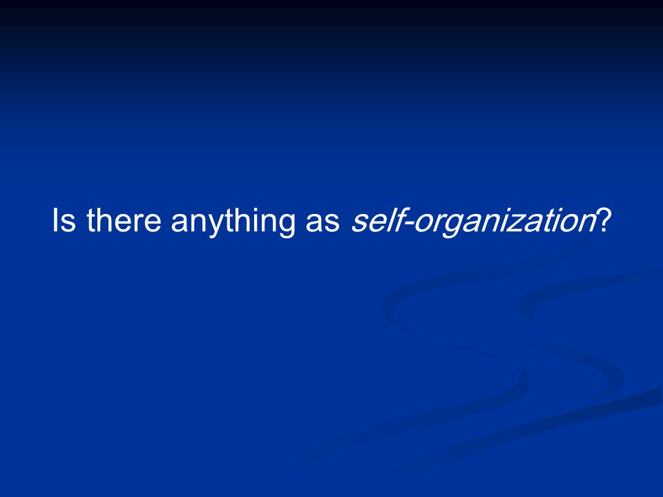 Is there anything as self-organization?