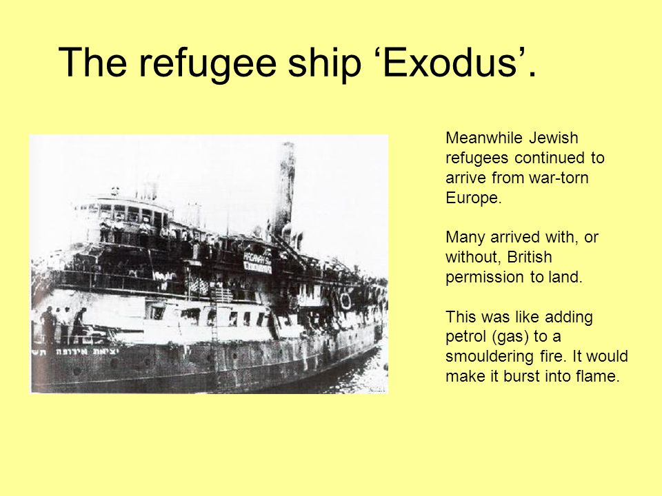 Redemption---Post WWII After World War Two Holocaust survivors desperate to get out off Europe and with the gates of the world closed to them headed for Palestine.