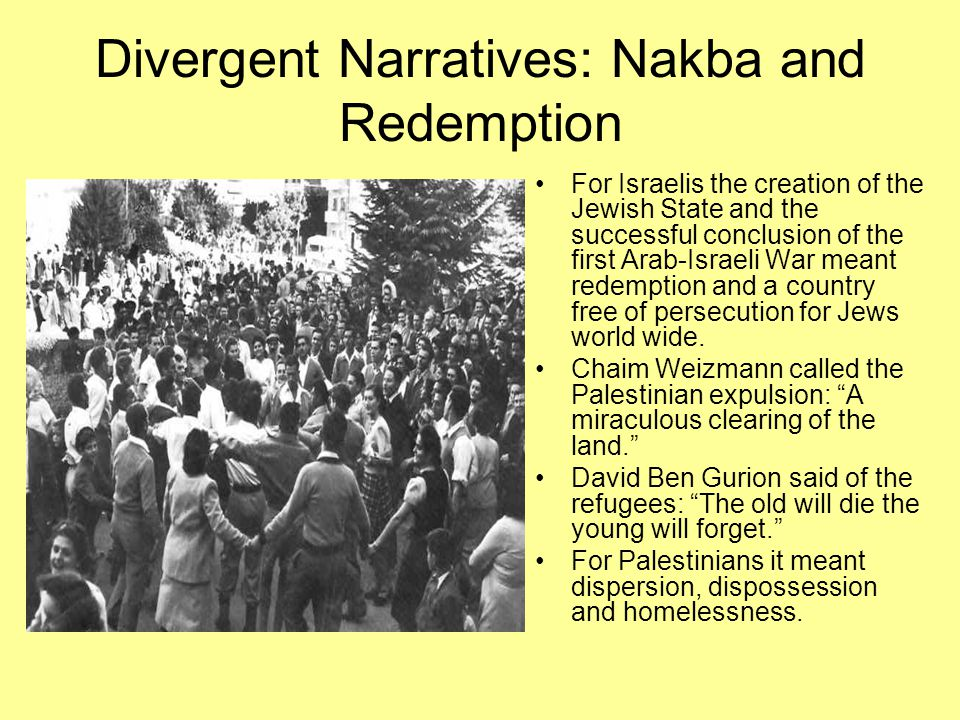 "Nakba ""We walked outside, Ben Gurion accompanying us. Allon repeated his question: 'What is to be done with the population?' Ben Gurion waved his hand"