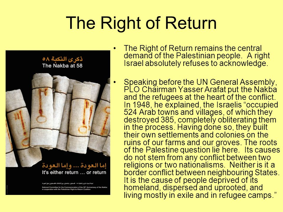 Nakba As Palestinians began life in refugee camps UN General Assembly Resolution 194 affirmed their right of return.