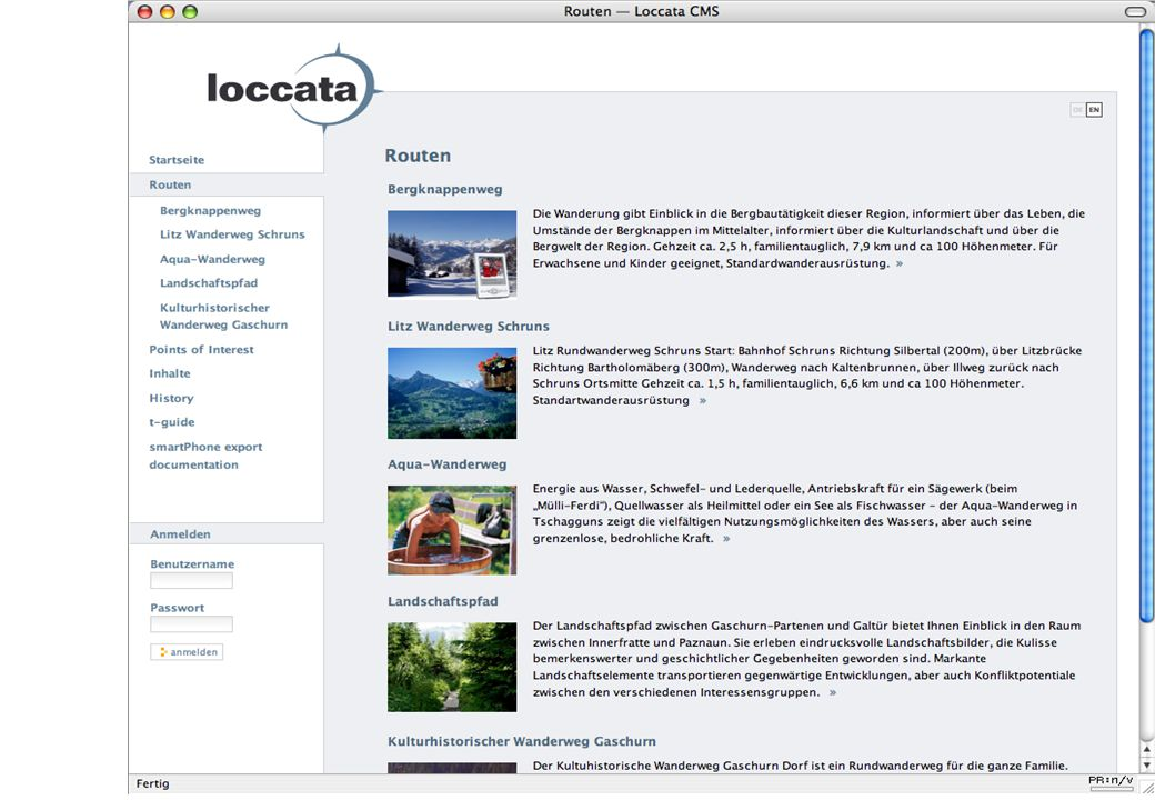 Final Presentationhttp://loccata.telesis.at http://galileo.telesis.at Content design of hiking routes Hiking routes Popular routes in the area Geo-ref