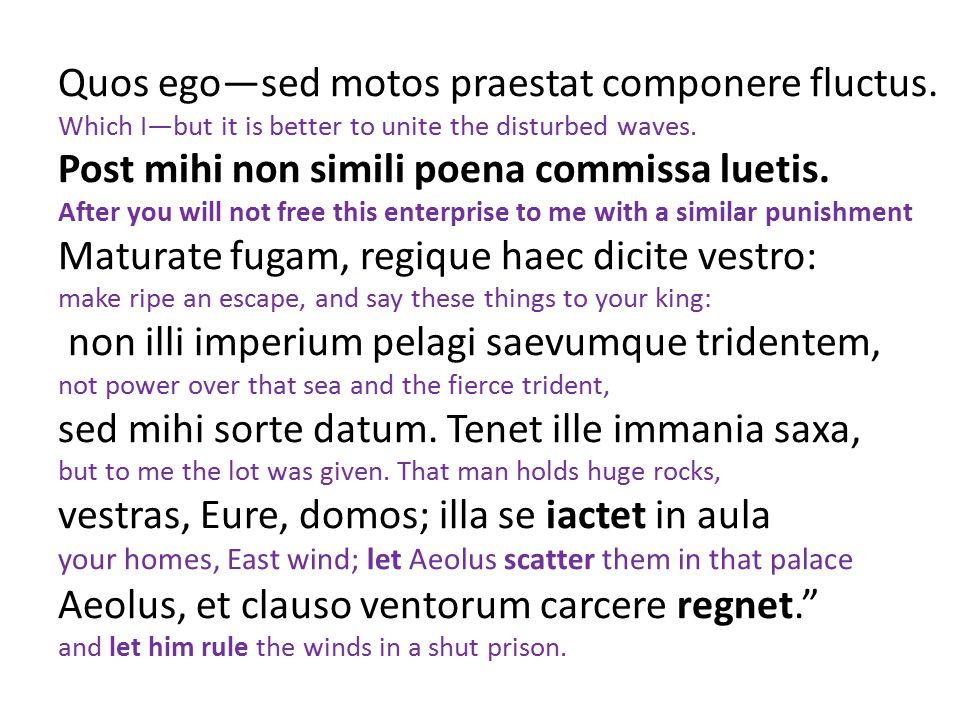 Quos ego—sed motos praestat componere fluctus. Which I—but it is better to unite the disturbed waves. Post mihi non simili poena commissa luetis. Afte
