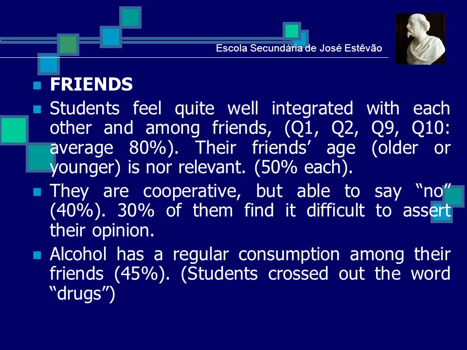 SCHOOL 85% of students like school and 75% have not in mind to abandon it.