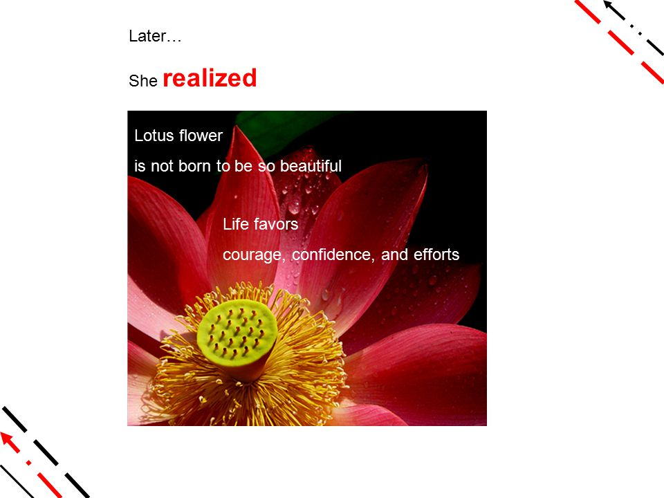 Later… She realized Lotus flower is not born to be so beautiful Life favors courage, confidence, and efforts