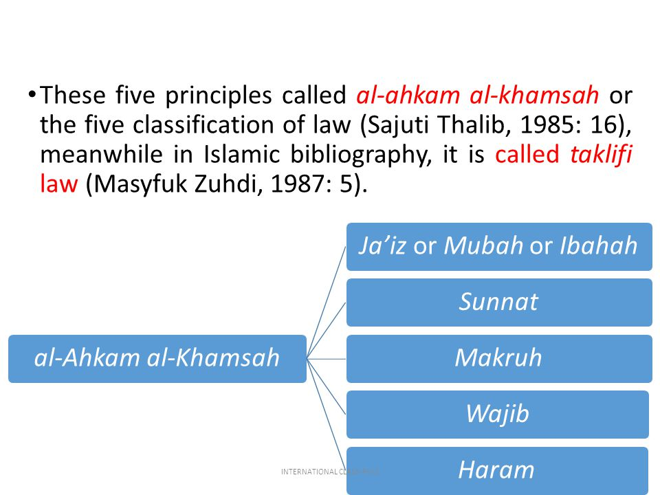 These five principles called al-ahkam al-khamsah or the five classification of law (Sajuti Thalib, 1985: 16), meanwhile in Islamic bibliography, it is
