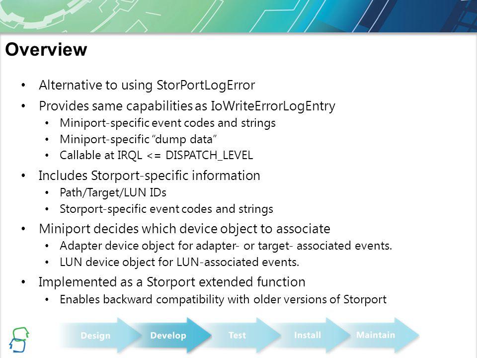 "Alternative to using StorPortLogError Provides same capabilities as IoWriteErrorLogEntry Miniport-specific event codes and strings Miniport-specific """