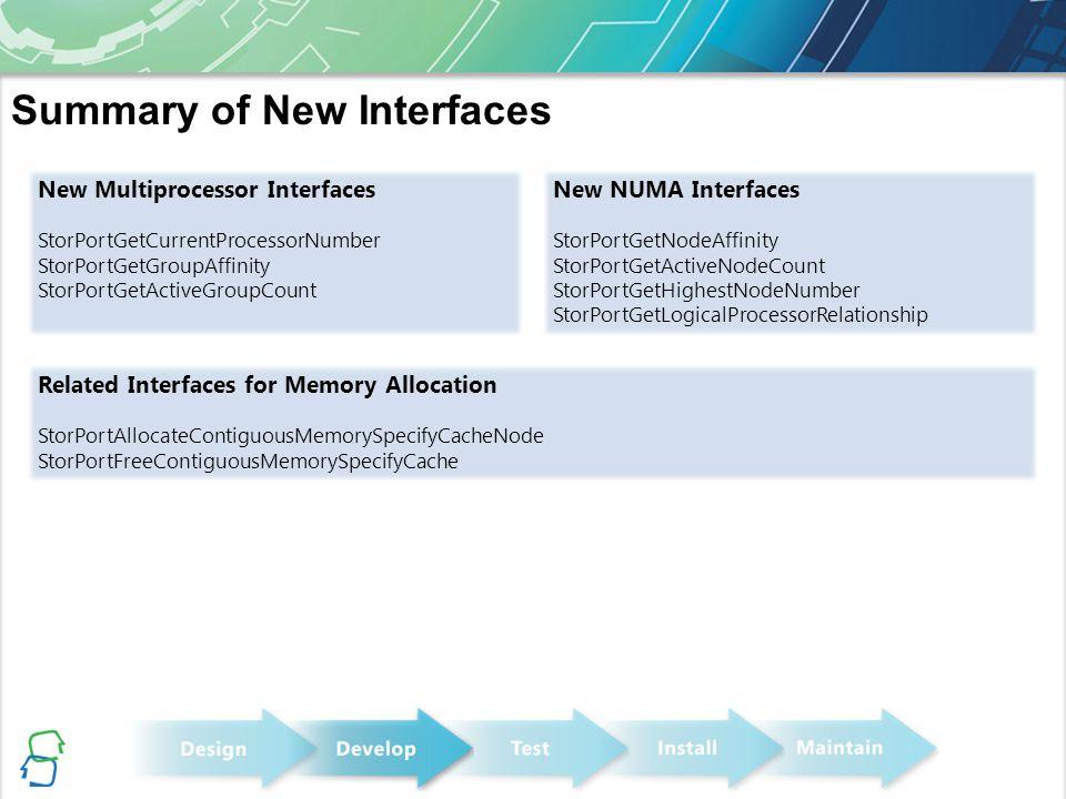 Summary of New Interfaces New Multiprocessor Interfaces StorPortGetCurrentProcessorNumber StorPortGetGroupAffinity StorPortGetActiveGroupCount New NUM