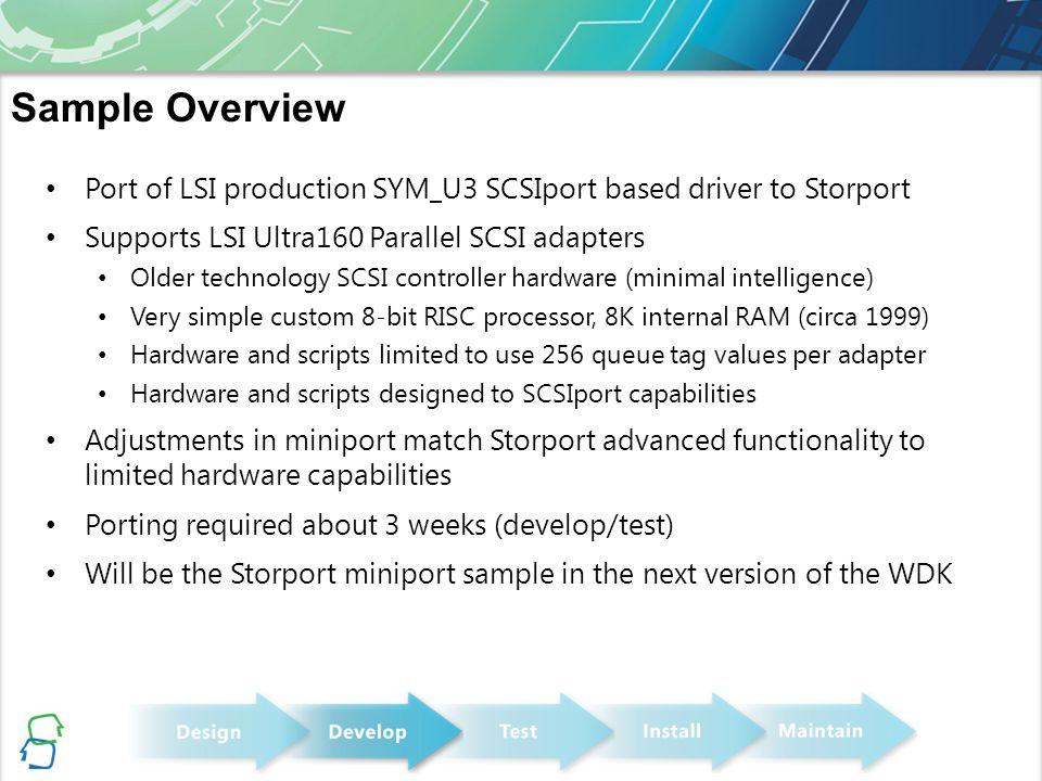 Port of LSI production SYM_U3 SCSIport based driver to Storport Supports LSI Ultra160 Parallel SCSI adapters Older technology SCSI controller hardware
