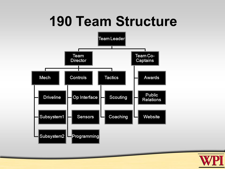 190 Team Structure Team Leader Team Director Mech Driveline Subsystem1 Subsystem2 Controls Op Interface Sensors Programming Tactics Scouting Coaching Team Co- Captains Awards Public Relations Website