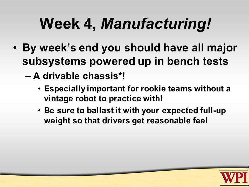 Week 4, Manufacturing.