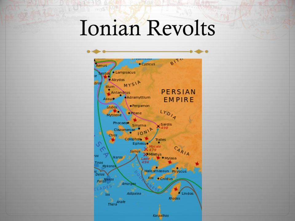 Darius Invades Greece  Darius saw the opportunity to invade Greece and punish those who had assisted the Ionians  In 490 BCE he crossed the Aegean Sea to defeat Athens  The Persians landed at Marathon, 26 miles north of Athens