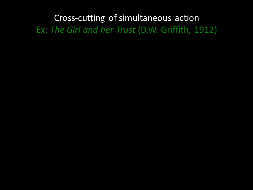 Cross-cutting of simultaneous action Ex: The Girl and her Trust (D.W. Griffith, 1912)