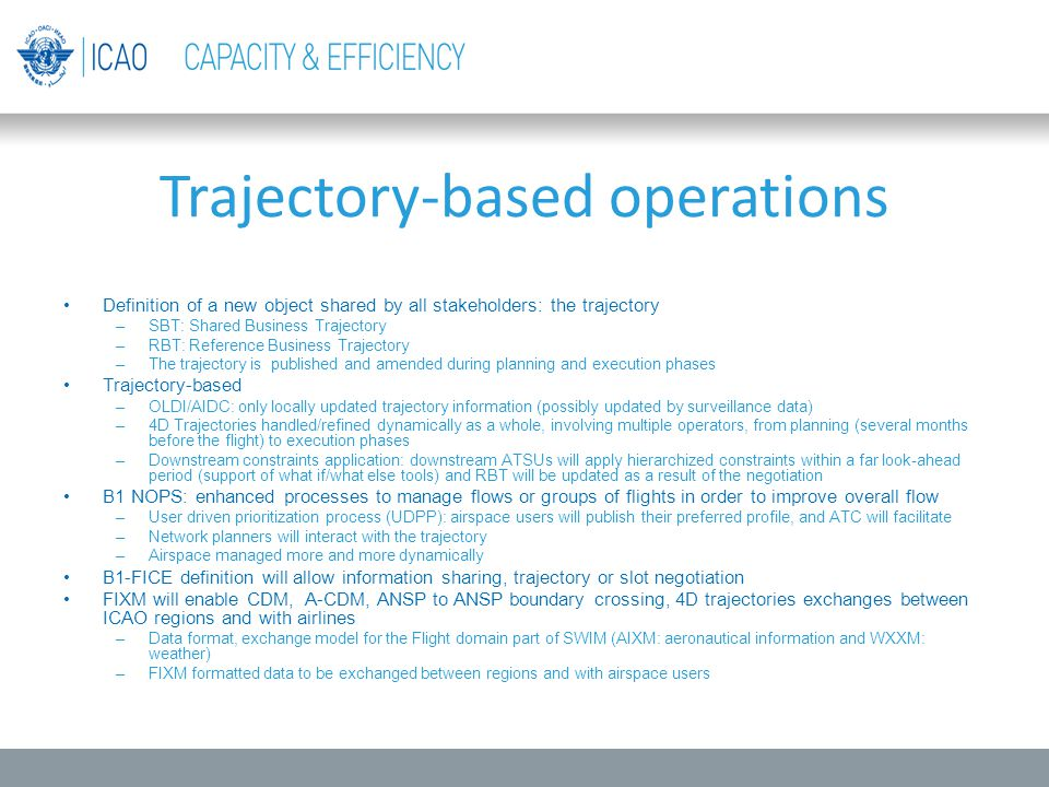 Trajectory-based operations Definition of a new object shared by all stakeholders: the trajectory –SBT: Shared Business Trajectory –RBT: Reference Bus