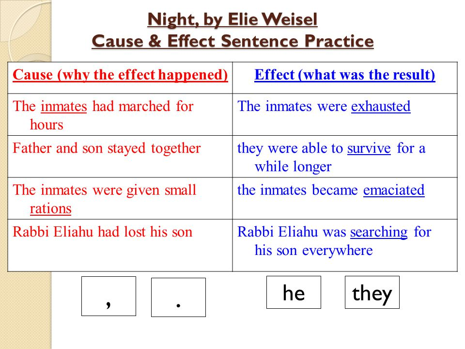 Night, by Elie Weisel Cause & Effect Sentence Practice Cause (why the effect happened)Effect (what was the result) The inmates had marched for hours T
