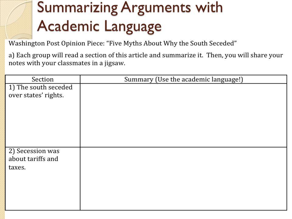 Summarizing Arguments with Academic Language 22