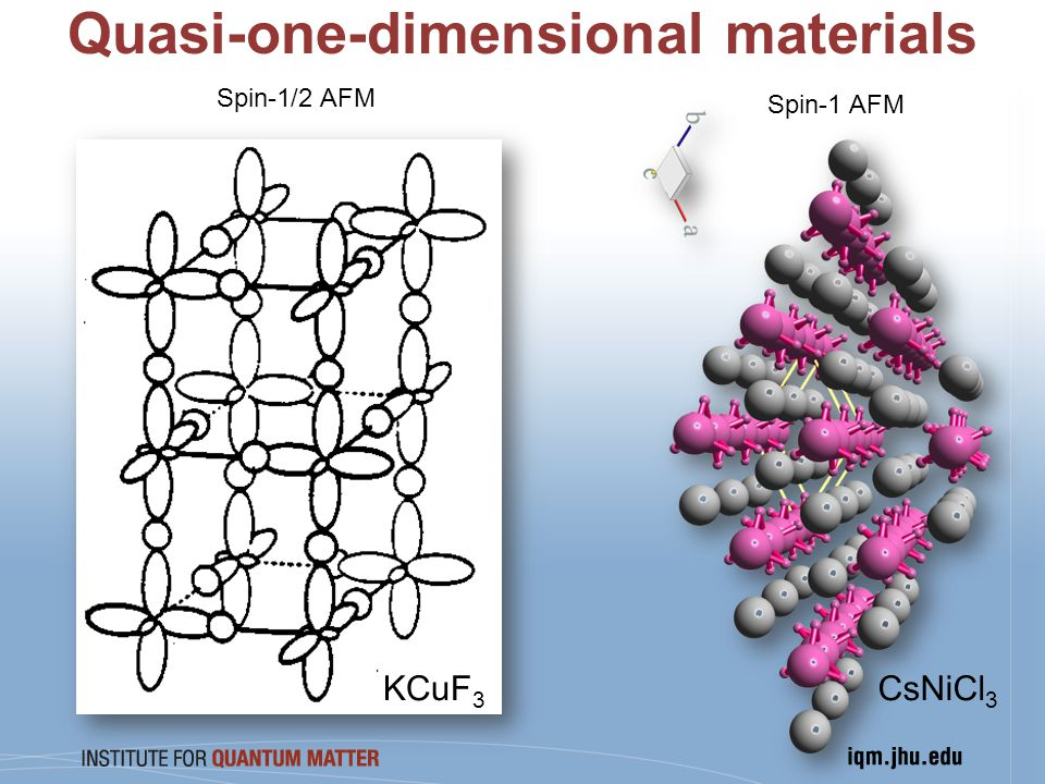 Quasi-one-dimensional materials KCuF 3 CsNiCl 3 Spin-1/2 AFM Spin-1 AFM