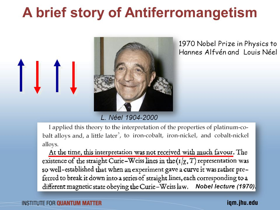A brief story of Antiferromangetism 1970 Nobel Prize in Physics to Hannes Alfvén and Louis Néel Nobel lecture (1970).