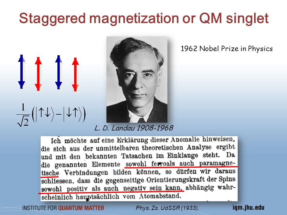 Staggered magnetization or QM singlet 1962 Nobel Prize in Physics Phys.