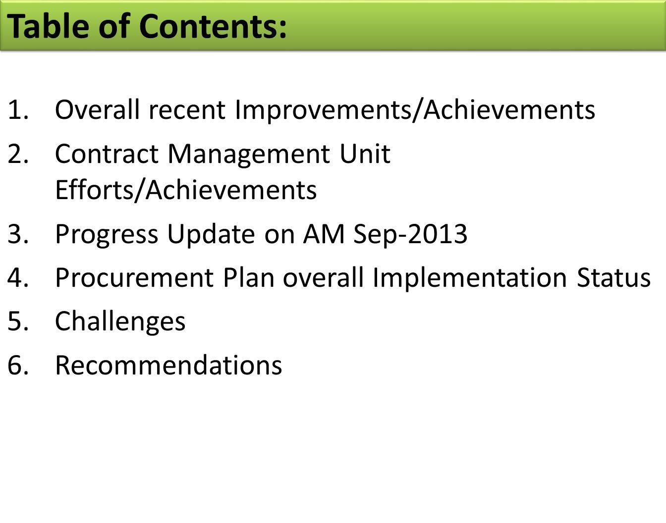 Table of Contents: 1.Overall recent Improvements/Achievements 2.Contract Management Unit Efforts/Achievements 3.Progress Update on AM Sep-2013 4.Procurement Plan overall Implementation Status 5.Challenges 6.Recommendations