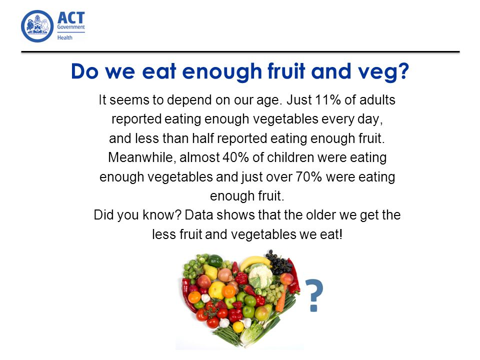 Do we eat enough fruit and veg. It seems to depend on our age.