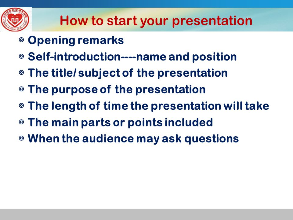 Useful Sentences for Introduction ◎ Opening remarks Good morning, everyone.