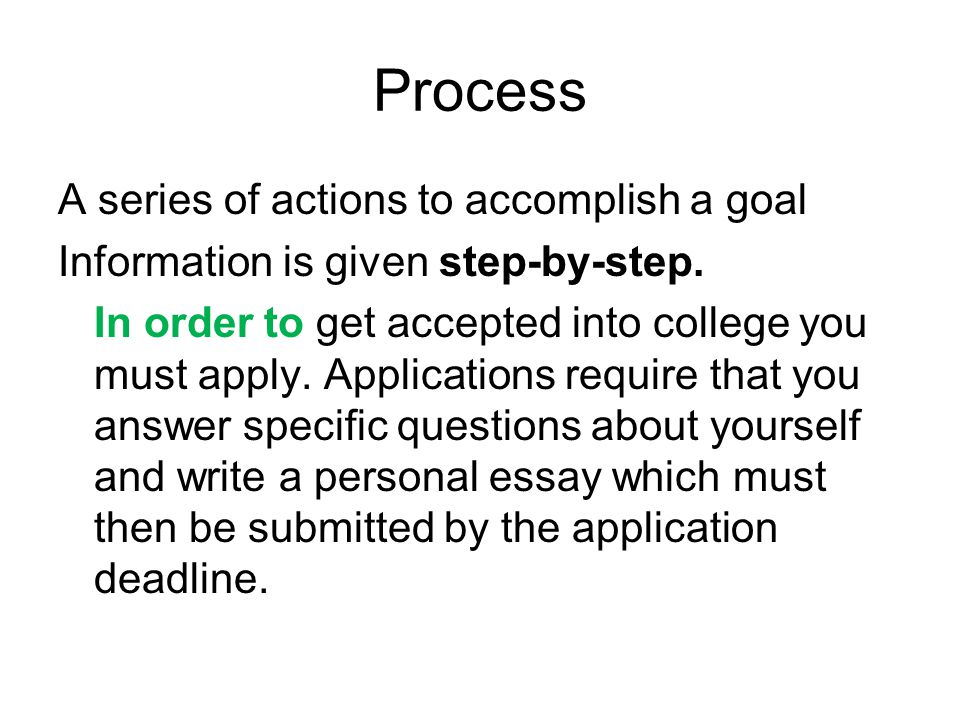 Process A series of actions to accomplish a goal Information is given step-by-step.