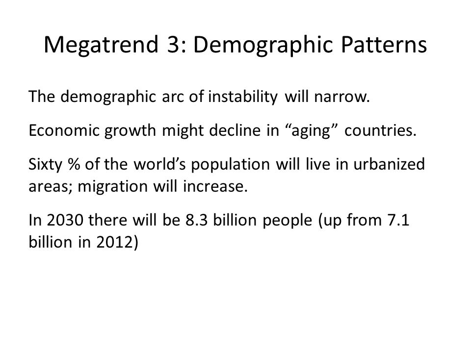 Megatrend 3: Demographic Patterns The demographic arc of instability will narrow.