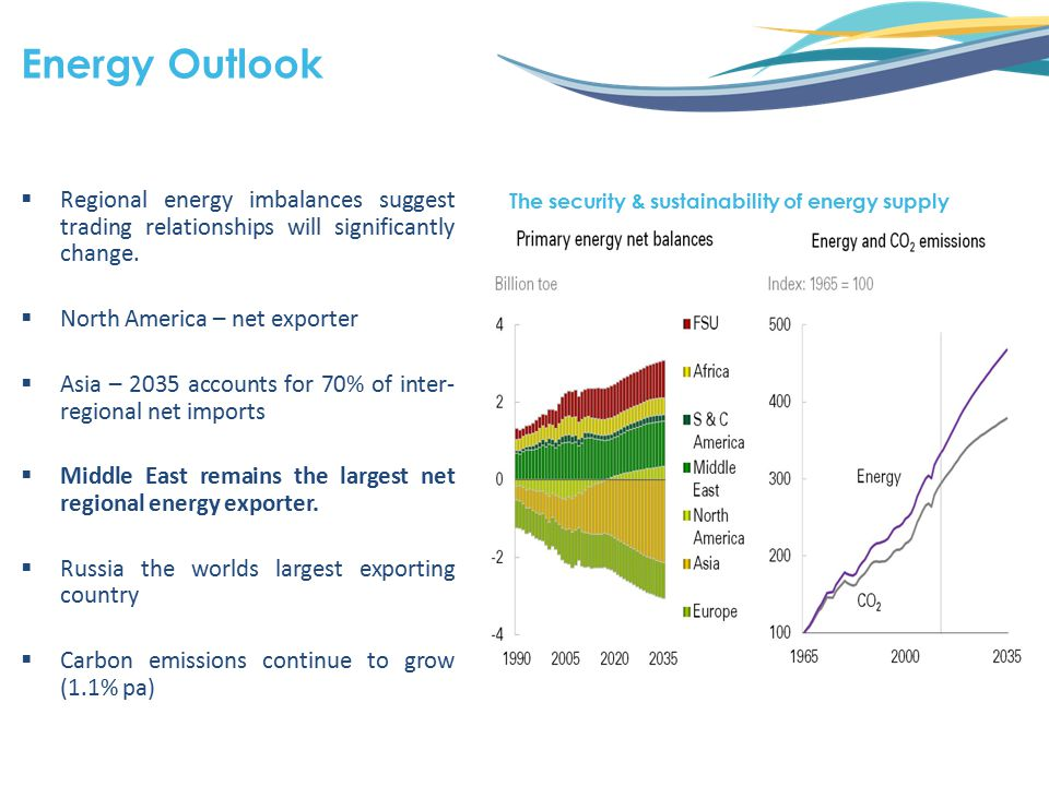  Regional energy imbalances suggest trading relationships will significantly change.