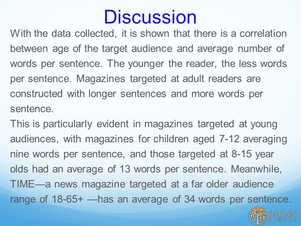 Discussion With the data collected, it is shown that there is a correlation between age of the target audience and average number of words per sentence.