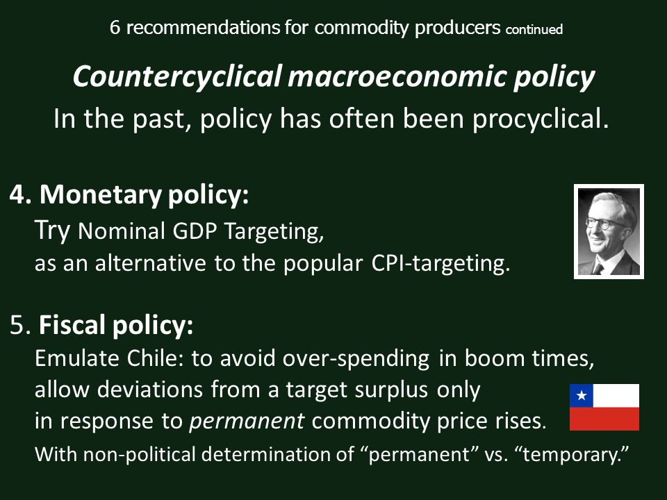 4. Monetary policy: Try Nominal GDP Targeting, as an alternative to the popular CPI-targeting.