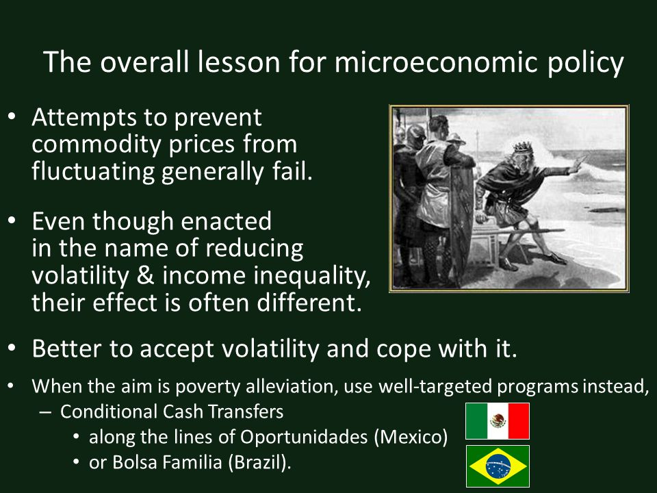 The overall lesson for microeconomic policy Attempts to prevent commodity prices from fluctuating generally fail.