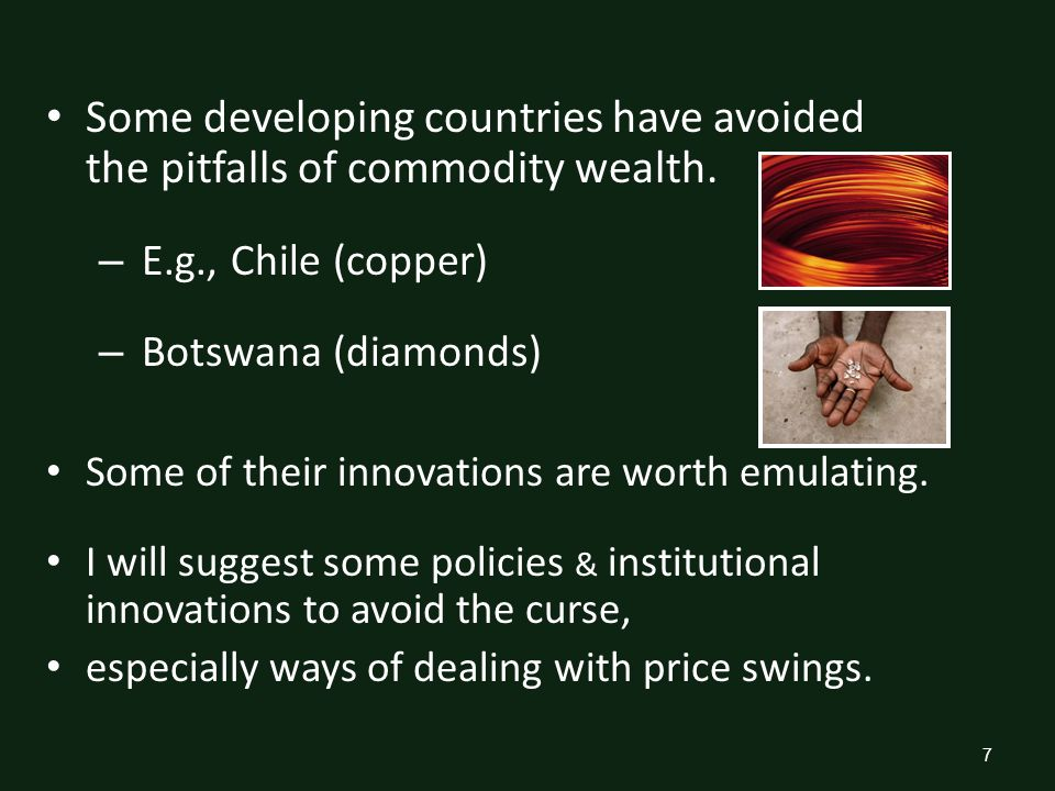 Policies & institutions to avoid pitfalls of the Natural Resource Curse II.