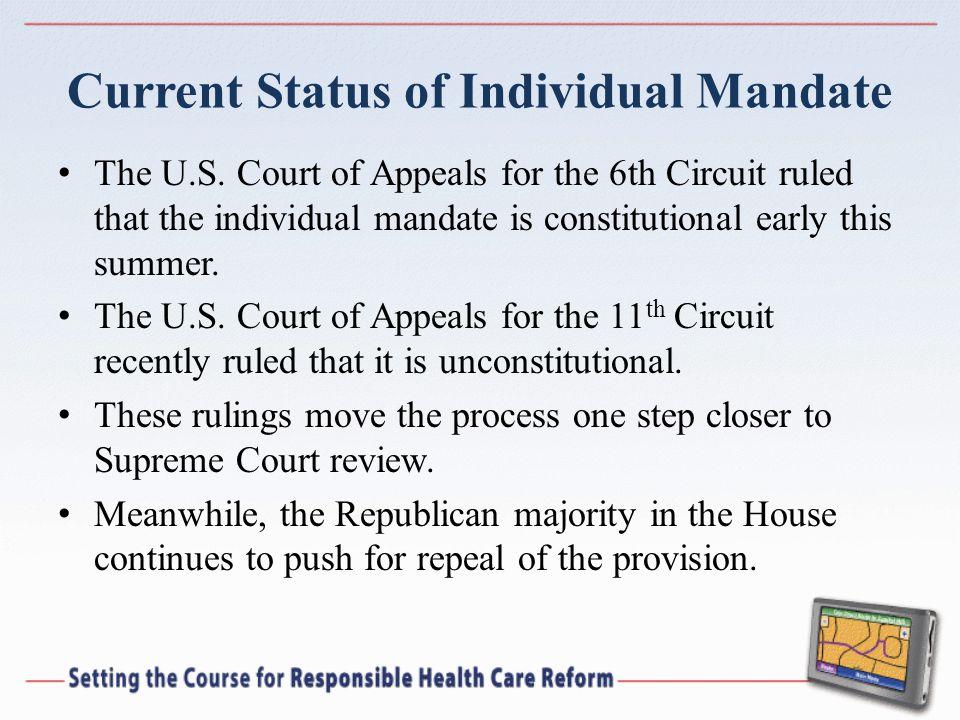Current Status of Individual Mandate The U.S.