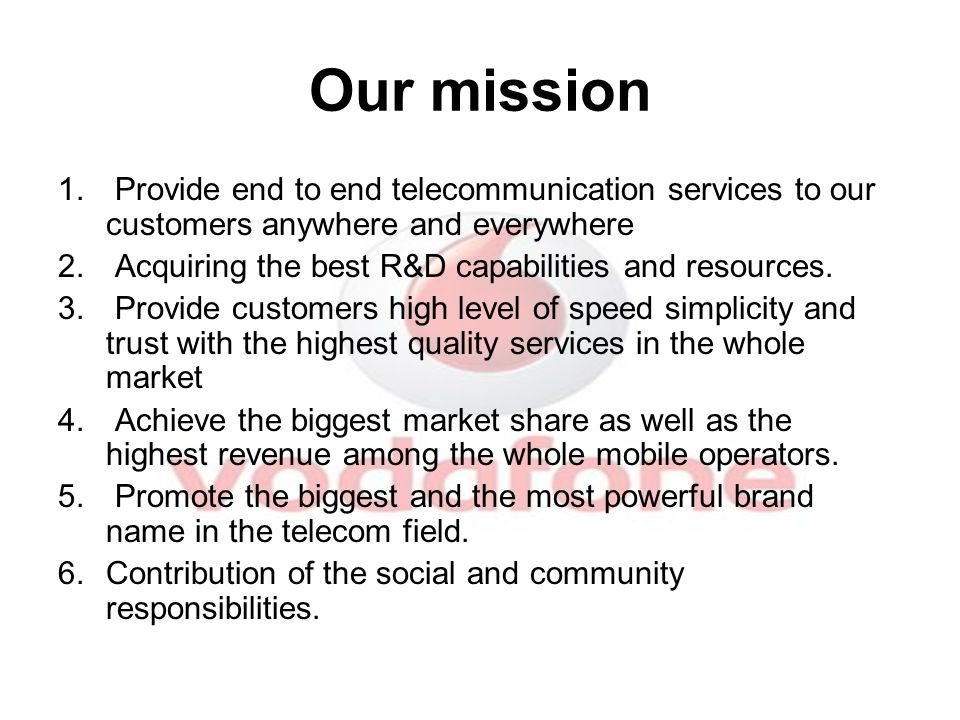 Our mission 1.