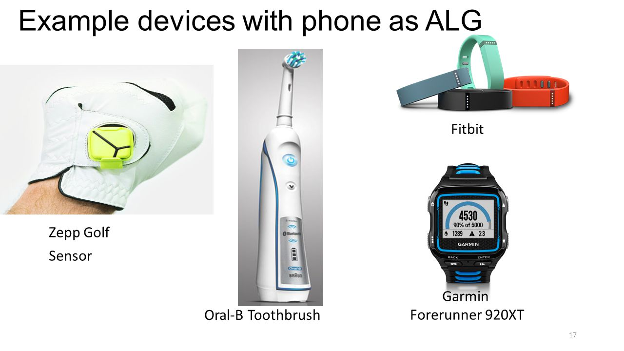 Example devices with phone as ALG Zepp Golf Sensor Oral-B Toothbrush Fitbit Garmin Forerunner 920XT 17