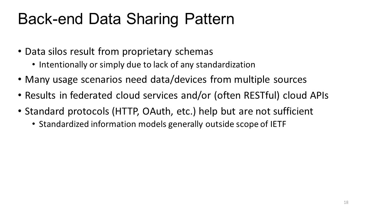 Back-end Data Sharing Pattern Data silos result from proprietary schemas Intentionally or simply due to lack of any standardization Many usage scenari