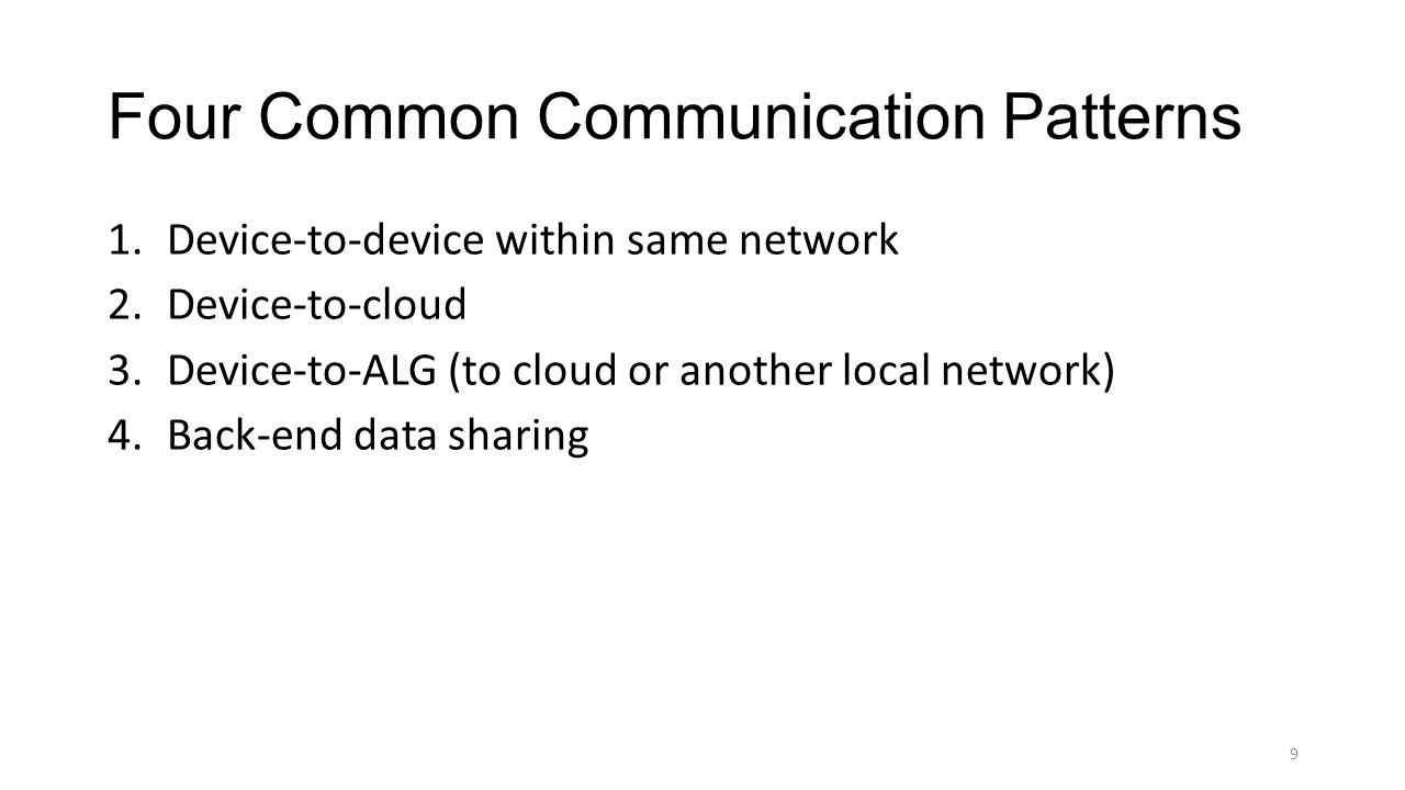 Four Common Communication Patterns 1.Device-to-device within same network 2.Device-to-cloud 3.Device-to-ALG (to cloud or another local network) 4.Back