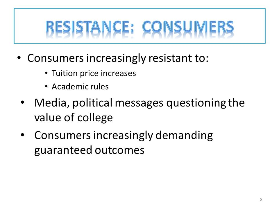 Consumers increasingly resistant to: Tuition price increases Academic rules Media, political messages questioning the value of college Consumers increasingly demanding guaranteed outcomes 8