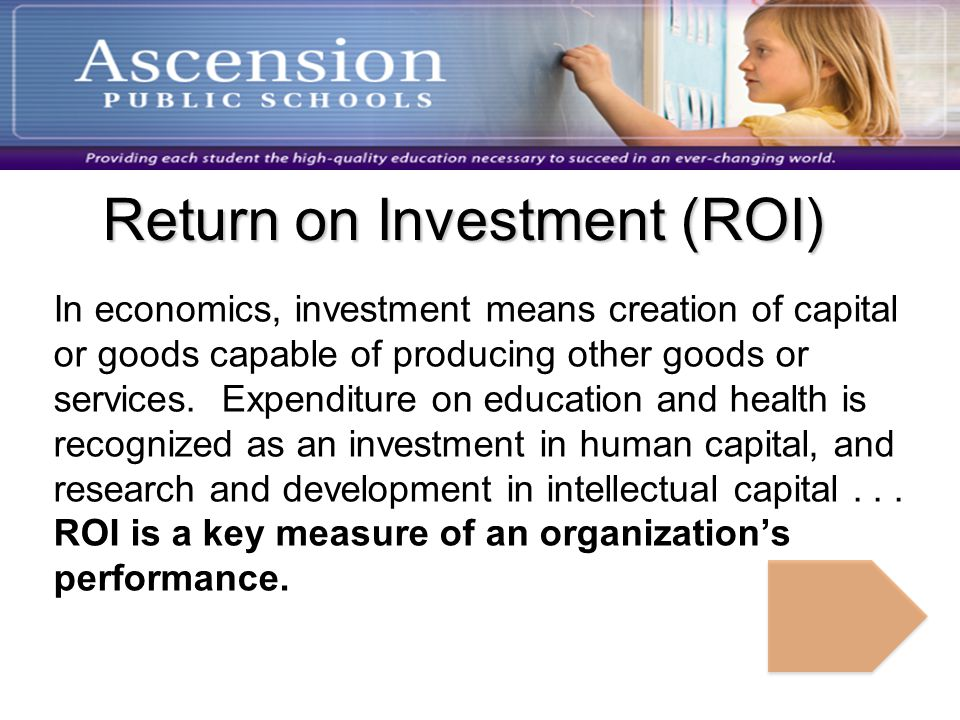 Return on Investment (ROI) In economics, investment means creation of capital or goods capable of producing other goods or services.