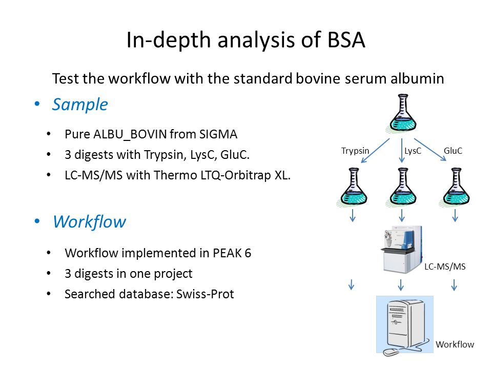 Test the workflow with the standard bovine serum albumin Sample Workflow In-depth analysis of BSA Pure ALBU_BOVIN from SIGMA 3 digests with Trypsin, LysC, GluC.