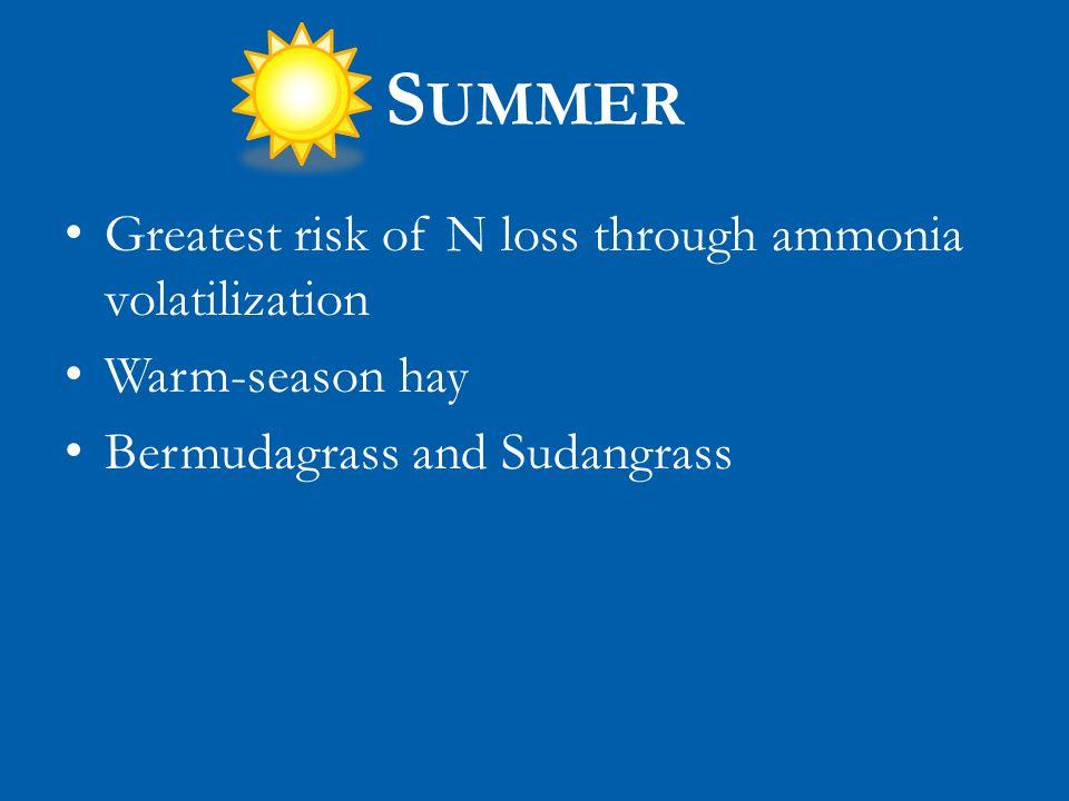 S UMMER Greatest risk of N loss through ammonia volatilization Warm-season hay Bermudagrass and Sudangrass