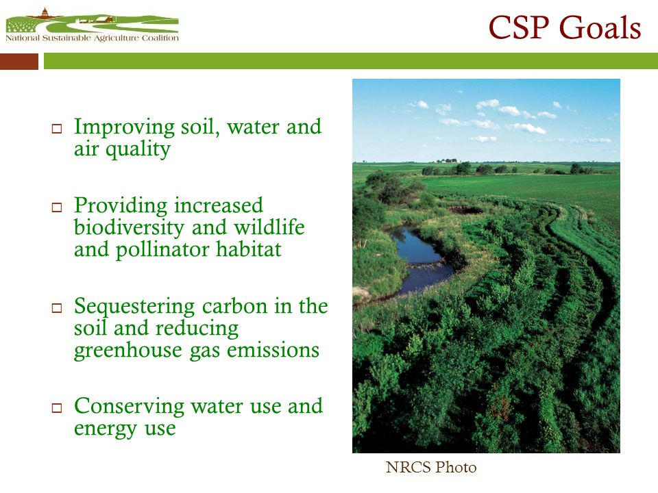 CSP Goals  Improving soil, water and air quality  Providing increased biodiversity and wildlife and pollinator habitat  Sequestering carbon in the soil and reducing greenhouse gas emissions  Conserving water use and energy use NRCS Photo