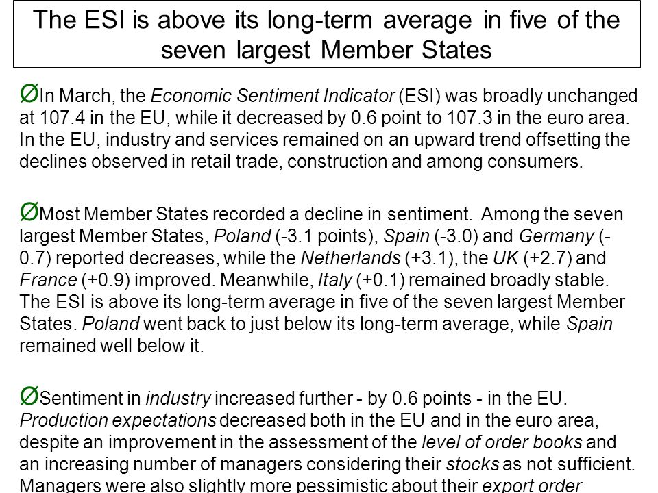 Ø In March, the Economic Sentiment Indicator (ESI) was broadly unchanged at 107.4 in the EU, while it decreased by 0.6 point to 107.3 in the euro area.