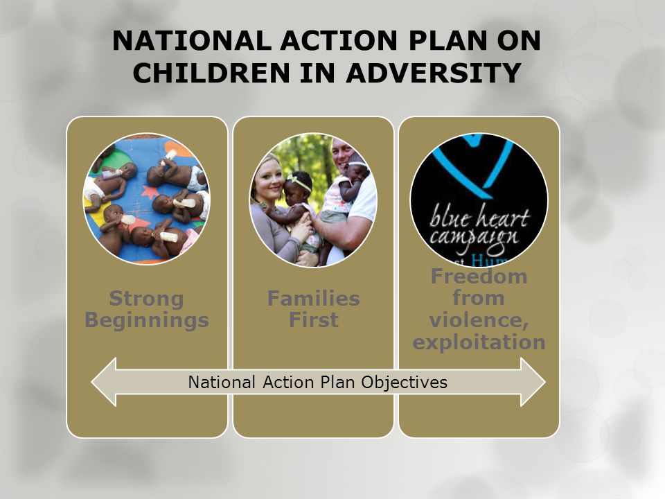 NATIONAL ACTION PLAN ON CHILDREN IN ADVERSITY Strong Beginnings Families First Freedom from violence, exploitation National Action Plan Objectives