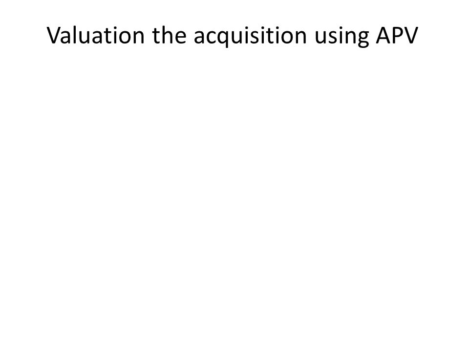 Valuation the acquisition using APV