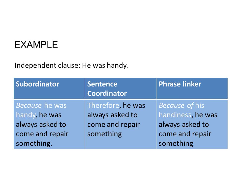 EXAMPLE SubordinatorSentence Coordinator Phrase linker Because he was handy, he was always asked to come and repair something.