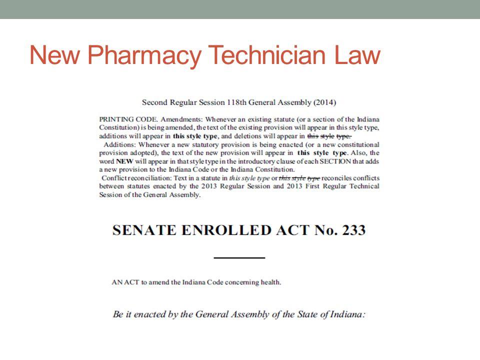 New Pharmacy Technician Law