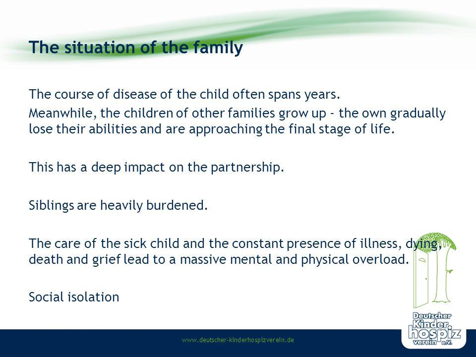www.deutscher-kinderhospizverein.de Prevelance of childhood diseases in Germany 22.600 children and adolescents with life shortening diseases (approximately).